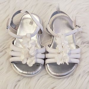 White Sandals With Flower Accents, Summer Shoes